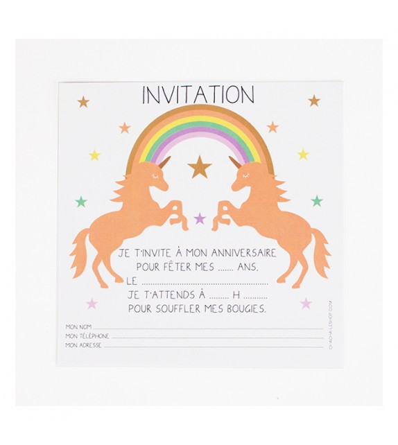 invitations d 39 anniversaire licorne milkybunnies. Black Bedroom Furniture Sets. Home Design Ideas