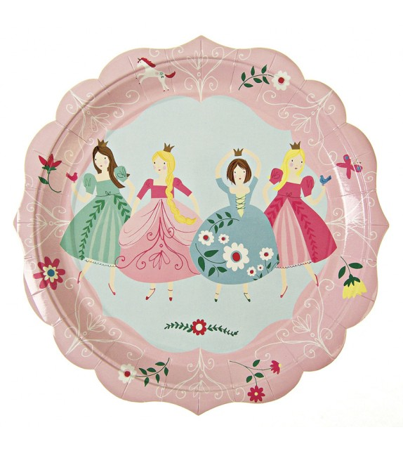 Assiettes en carton Princesse- Lot de 12