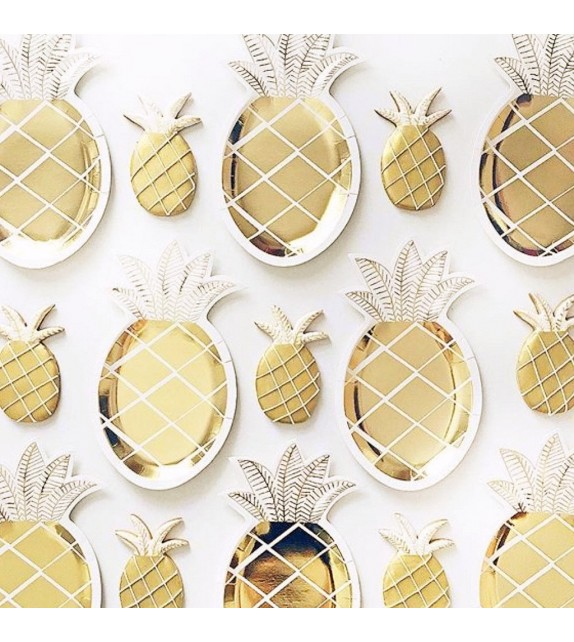Assiettes en carton Ananas - Lot de 8