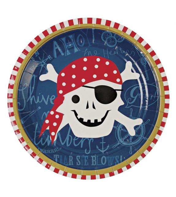 Assiettes en carton Pirate - Lot de 12