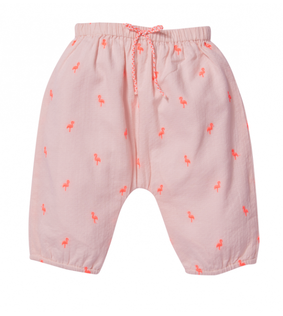Pantalon brodé Willy Pink flamingo