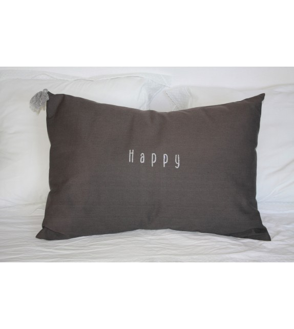 Coussin XL en coton gris anthracite HAPPY