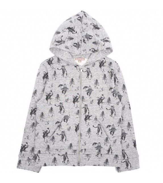 Sweat zippé gris chiné Animaux