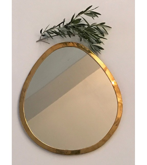 Miroir en maillechort forme Goutte Or large