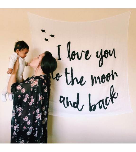 Lange noir et blanc I love you to the moon and back